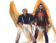 """ironfries: """"hello, this is a thing that i wanted a wallpaper of, with hunterangelsteve and sex demon tony who is bound to said angel and has powers of persuading people into making bad decisions :v i hope that is ok i will type up the background..."""
