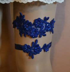 Royal Blue Lace Wedding Garter, Wedding Garter Set, Royal Blue Beaded Lace Garter Belt, Vintage Style Lace Garter Set, RBB1 by SpecialTouchBridal on Etsy