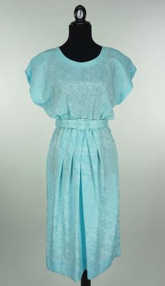 Vintage 1980s does 1940s Robin's Egg Blue Dress by CeeLostInTime