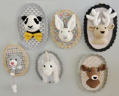 Collection de trophées Panda, lapin, cerf, chat, licorne et biche : Décoration pour enfants par ligne-retro