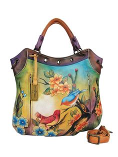 Womens Hand Painted Leather Multi-Pocket Convertible Tote Handbag