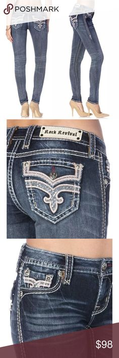 "NWT New ROCK REVIVAL MANISA Skinny Jeans 177840 New with tags.  Skinny cut jean with contrast stitching and logo hardware is detailed with hand-sanding, whiskering, and embellished Fleur de Lis on back flap pockets.    Zip fly with button closure. Front and back fading and whiskering. Rhinestone and embroidered details. Contrast seams. Low rise. Skinny leg.     Approx. 7"" rise, 31"" inseam.   73% cotton, 18% polyester, 7% rayon, 2% elastane.   Fit: this style fits true to size. Rock Revival…"