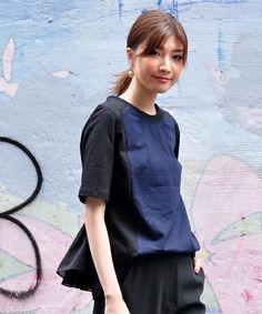 avie(アビィ)のテールフィン スウィッチTEE(Tシャツ/カットソー)|ネイビー