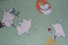 Moomin fabric / scrap vintage white background small by tillukka