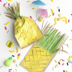 Make a pineapple favor bag with some paint and a brown lunch bag.