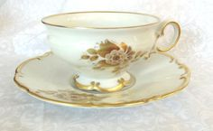 German Teacup & Saucer Hutschenreuther Gold by FanisTreasures, $25.00