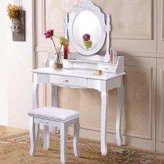 Nishano Tocador Espejo de maquillaje negro Taburete de 4 Cajones Dormitorio Escritorio de vanidad