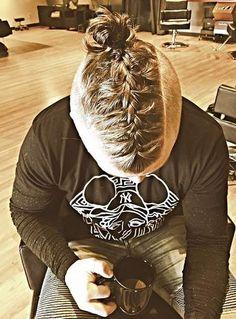 man bun braids hairstyle men