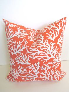 DECORATIVE Throw Pillows 18x18 CORAL ORANGE by SayItWithPillows, $17.95