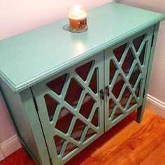 The find: a turquoise cabinet that could hold just about anything . . . stylishly!                  Image Source: Instagram user suesa