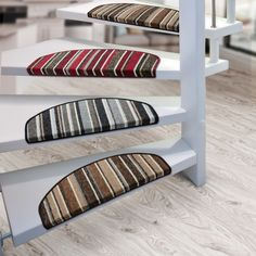 Exciting Stair Treads Carpet for Interior Home Decor Ideas: Unique Colorful Striped Stair Treads Carpet For Exciting Spiral Staircase Design And Lowes Wood Flooring Plus Carpet Treads For Wood Stairs Also Modern Carpet Stair Treads