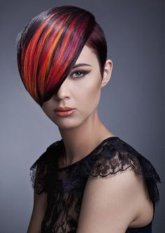 short brown straight coloured multi-tonal reds pinks hairstyles for women