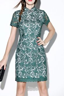 Slit Openwork Qipao Dress