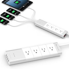 Satechi Aluminum 4-Outlet Power Strip - It's a perfect match for your Mac products but even if you're still using a Commodore64 at home, this 4-outlet power strip makes a great case for itself: it has 4 AC outlets with surge protection plus 4 USB outlets & it uses IC smart technology to send the right amount of power to whichever device you're charging. | via werd.com