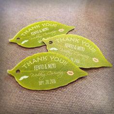 【名入れ】プチギフト用☆葉っぱのサンキュータグ【14枚】#結婚式 #二次会 #葉っぱ