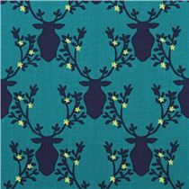 teal Trophy stag Michael Miller animal fabric Rustique
