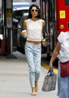 Amal Alamuddin in a lace top and printed jeans
