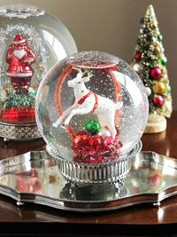 Do-It-Yourself Snow Globe  Snow globes are a Christmas classic, and these oversize spheres put on an impressive display. You can make your own snow globes with the how-to directions below.  What You Need:  A globe with rubber base and plastic stand  Epoxy  Ceramic or plastic ornaments  Distilled water  Liquid glycerin  Glitter