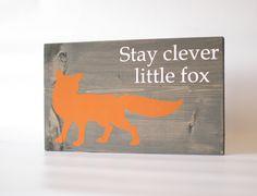 Fox wood sign -  Grey, Fox home decor, rustic wall art, rustic wood sign, rustic nursery, fox nursery, orange, woodland nursery, cabin decor by RusticallyChicStudio on Etsy