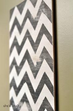 I finally jumped on the chevronbandwagonand made some chevron wall art.         And here is how I did it.        I started with a piece o...