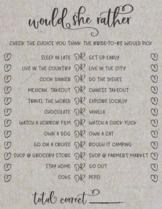 Would She rather? Grey Bridal Shower Games. Great way to see how well you know the bride-to-be! #weddingideas