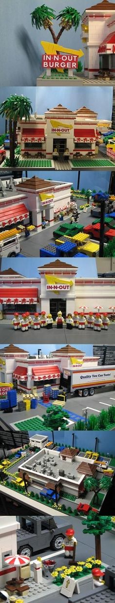 A great literal recreation of #InAndOut Burger (Fast food restaurant) in #LEGO bricks. / LEGO Model by Bruce Lowell