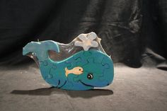 Whale with baby wooden jigsaw puzzle wood toy by GmaGpaCrafts