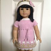 """Top-down, raglan construction using self-striping or other yarn for 18"""" doll, such as American Girl, Madame Alexander Play Doll, etc. Instructions for both knitting in-the-round and flat are included."""