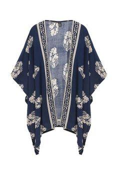 Navy blue boho vintage kimono #festival #fashion #style