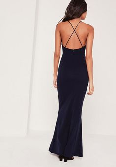 Nail the navy and let this cross back dress with a sexy plunge neck and fishtail finish do all the talking.