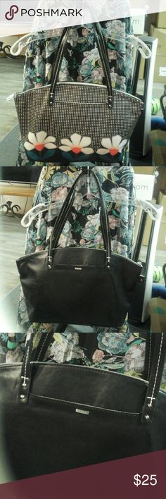 """Cute Purse """" NEW """", from Relic , Black with Daisies print on front , with Black background , and White Polka Dots all over , has a slip pocket on back and front , pretty contrast stitching on the double shoulder straps  ( drop 10 1/2"""" ) , extra large zipper pull on the closure , one open compartment inside , with back wall zipper pocket , and 2 - front wall slip pockets , very clean style , yet holds a lot .* This is a Re - Posh item , I love it but it's too big for my needs . RELIC Bags…"""
