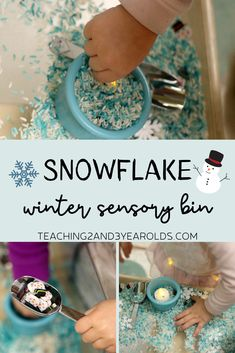 This winter sensory bin is loaded with dyed rice, various sized snowflakes, small snowmen and scoops. But what makes it most fun are the flickering tea light candles! A great way to build fine motor skills during your winter theme. Winter Activities For Kids, Winter Crafts For Kids, Winter Kids, Preschool Winter, Toddler Sensory Bins, Toddler Fun, Sensory Bags, Sensory Activities, Kindergarten Sensory