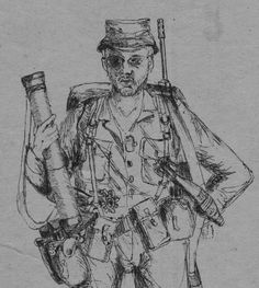 Pen sketch.  8 day patrol near Ombaluntu 17 May 1980. Platoon 1, 3 South African Infantry. Note that 60 mm mortar plus R1 was carried.