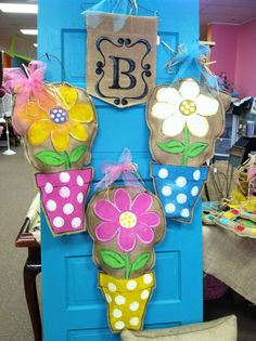 Burlap Flower Pot door hanger by