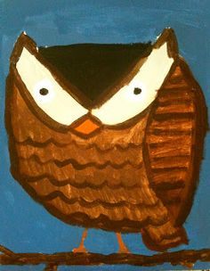 Sleepyhead Designs Studio: Painting Owls Folk Art Style for kids...I SEE it ALL!