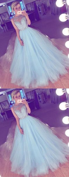 sky blue prom dress,long prom dress,tulle prom dress,A-line prom dress,cheap prom gown,beading prom dresses #lightblue #tulle #long #prom #okdresses