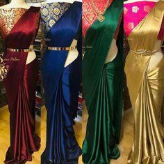 Satin Saree With Banarasi Silk Blouse Trendy Sarees, Stylish Sarees, Fancy Sarees, Pattu Saree Blouse Designs, Fancy Blouse Designs, Wedding Saree Blouse Designs, Wedding Sarees, Wedding Dresses, Tag Design