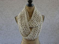 Ivory Tweed Black Brown Chunky Scarf Fall by SouthernStitchesCo