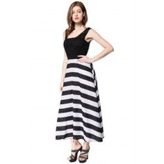 Striped Sleeveless Scoop Neck Floor-Length Women's Dress - WHITE AND BLACK XL