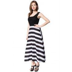 Striped Sleeveless Scoop Neck Floor-Length Women's Dress - WHITE AND BLACK XL