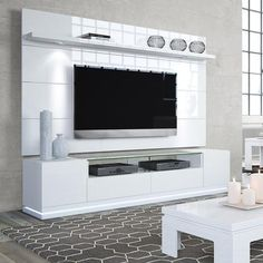 Vanderbilt TV Stand and Cabrini 2.2 Floating Wall TV Panel with LED Lights in White Gloss - Simply Stand