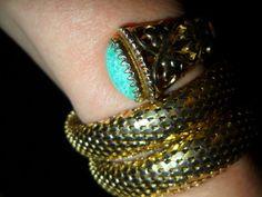 BIG Schiaparelli and Whiting & Davis mesh bracelet Czech glass MOTHERS DAY GIFT! #WhitingDavisSchiaparelli #EgyptianSnakeArtDecoVintage