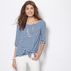 beauty reps: Striped Off-the-Shoulder Top in Misses