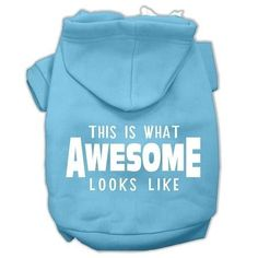 This is What Awesome Looks Like Dog Pet Hoodies Baby Blue Size Med (12)