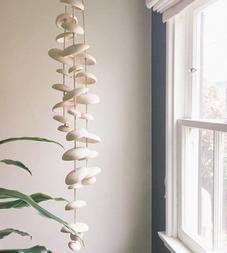 Half Stack Moon Ceramic Wind Chimes, Natural Buff