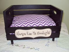 PET BED recycled crate Dog Cat Pampered Pets Animal Lovers sleeping bed Kisses on Etsy, $60.00