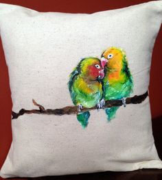 Painted Love Birds on a Branch, Decorative Throw Pillow