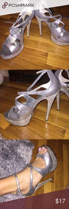 SILVER HEELS PRICE DROP ❗️ SILVER SPARKLY HEELS! Shoes Platforms