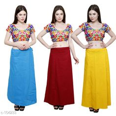 Ethnic Bottomwear - Petticoats Trendy Cotton Women's Petticoat Combo (Set Of 3) Fabric: Cotton Size: Up to 34in to 42 in Hip Round - 44 In Length - 38 In Flair From Bottom - 78 In Pattern: Solid Description: It has 3 Piece Of Petticoat  Country of Origin: India Sizes Available: Free Size   Catalog Rating: ★4 (390)  Catalog Name: Solid Cotton Petticoats Combo CatalogID_15359 C74-SC1019 Code: 025-154233-9461