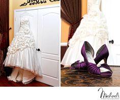 Wedding Dress & Purple Wedding Shoes at La Luna Dance Studio in Bensalem, PA.  Photos by Michael's Photography in Bensalem, PA.